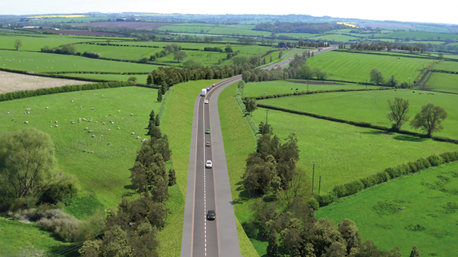 Aerial view of the Melton Mowbray distributor road