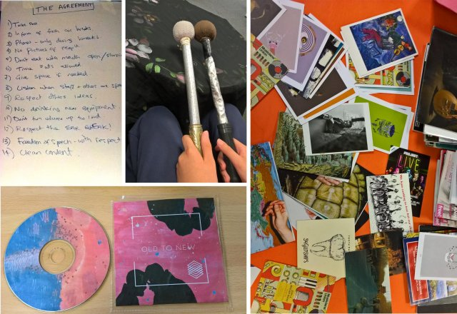 Collage of ideas and artwork created by students on Music Course